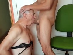 Older gay guy sucks young guy's cock and drinks his cum.