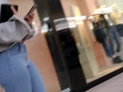 hottie with a great ass walking in jeans
