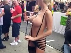Blond girl with big tits at Folsom Fair