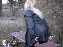 Big tit chubby girlfriend striptease outdoors for horny BFF