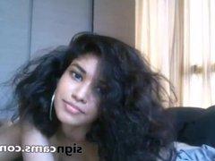 Teen latina with curly hair masturbating