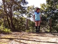 School gurl pai-chan in the autumn woods