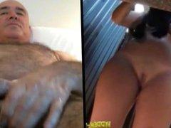 Big boobs beach cabin woman and man wanking