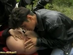 outdoor threesome anal orgy