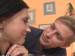 Friend seduces his brunette gf into cheating sex