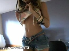 Teen in short jeans hot dancing