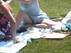 sitting panties in a park