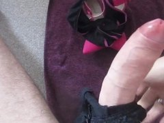 masturbating with wife's panties and cumming over shoes