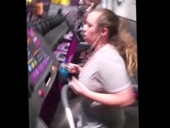 Busty white girl on treadmill with bouncing boobs