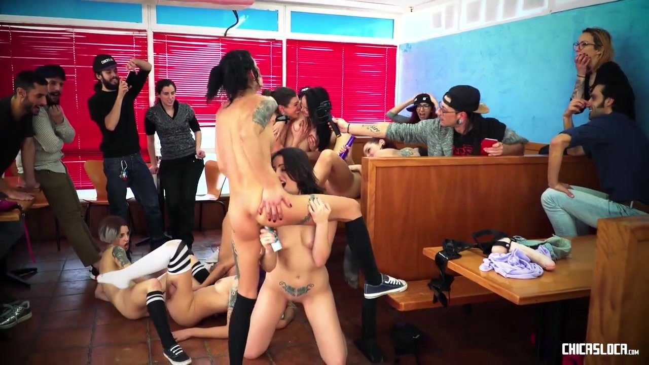CHICAS LOCA - Kinky lesbian orgy in a diner with hot Latinas