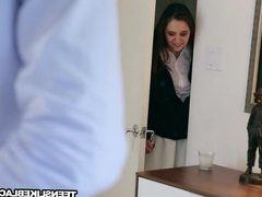 Hot brunette teen Elektra gets pussy owned hard and deep