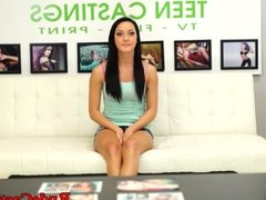 Facialized casting teen gets fingered