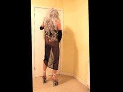 Grey haired slut in black negligee