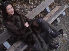 Julie Skyhigh in sable fur coat