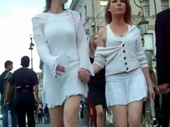 Double thong upskirt in white dresses