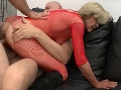 Rita in red fishnet