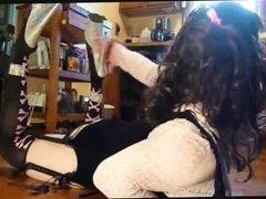 Bimbo crossdresser gags on black dildo