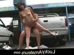 Amateur sex in a car repair feat. Cordoba