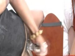 Ebony TS doll stuffs her tight ass with beer bottle and cums