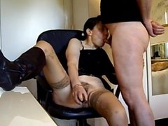 Cucumber play and blowjob