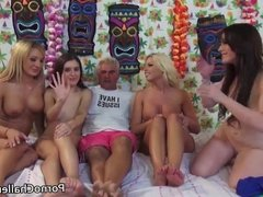 Four hotties in an orgy with two guys
