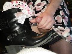 Cumming on her boots in her underwear