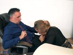 Gorgeous Blonde Sucks off Her Boss
