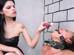 Lezdom debutant Pollys domination by Karina Cruel punishing
