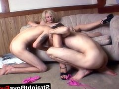 Two horny guys drill one hot blonde babe