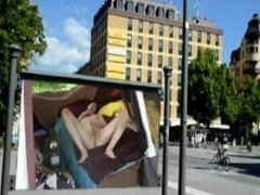 Naked public billboard masturbation by Mark Heffron