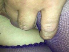 Purple pantyhose pussy cumshot