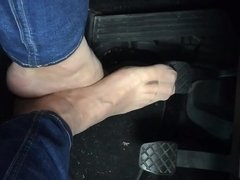 Driving my car - with naked nylonfeet