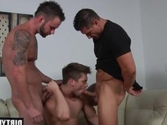 Muscle jock threesome and cumshot