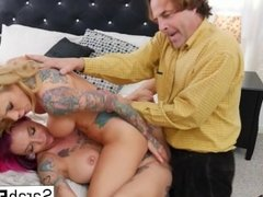 Threesome featuring big boobs, lots of tattoos, and a big dick!