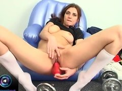 Huge dildo up and down through the hottie's delicious cunt
