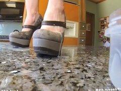 Wife plays with cum on shoes and feet with 50+ loads
