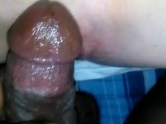 Very wet hotwife takes black cock close up