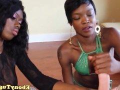 Black beauties tugging hard dick pov