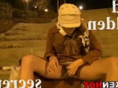 Dogging. Amateur couple have sex in public outdoor with facial cum