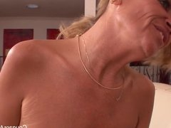 Blonde MILF and her stepdaughter seduce the maid