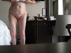 HIDDEN CAMERA FOOTAGE - BRITISH GRANNY DRESSING IN UNDERWEAR