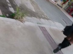 mini skirt and black pantyhose
