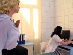 Busty Blonde slut gets fisted hard in the doctors Office