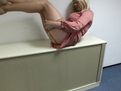Masturbating in blonde . nylon legs stockings pantyhose cum