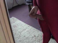 Wanking in my red Lycrasuite