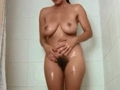 Hairy Brunette Solo Shower