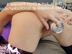 Huge Bottle Insertion into Loose Gaping Pussy