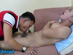 The smell of feet makes Asian twink stuff his face with cock