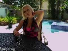 Busty hot young blonde masturbates in the hot tub