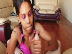 Nubian amateur pulling cock in sexy lingerie